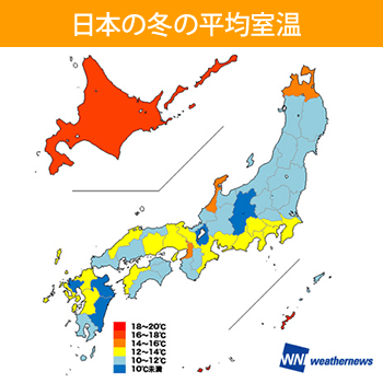 日本の冬の平均室温